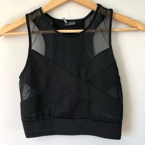 URBAN OUTFITTERS Black Cross Front Mesh Crop Top S